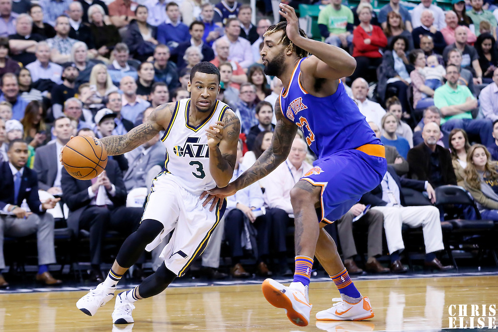 09 December 2015: Utah Jazz guard Trey Burke (3) drives past New York Knicks forward Derrick Williams (23) during the Utah Jazz 106-85 victory over the New York Knicks, at the Vivint Smart Home Arena, Salt Lake City, Utah, USA.