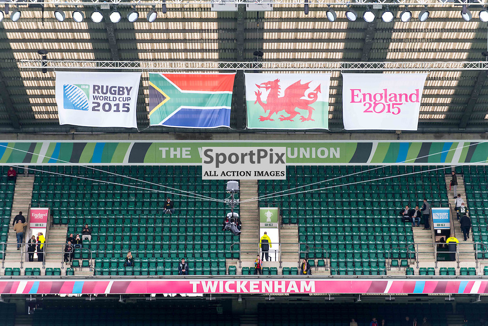 The stage is set for the South Africa v Wales quarter final game at the 2015 Rugby World Cup at Twickenham in London, 17 October 2015. (c) Paul J Roberts / Sportpix.org.uk