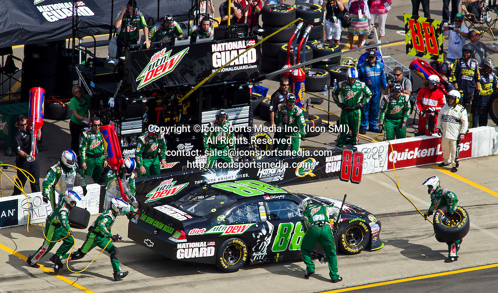 17 June 2012: Dale Earnhardt Jr., driver of the National Guard #88 Chevrolet, pulls into his pit for new tires and a refuel, during the NASCAR Sprint Cup Series Quicken Loans 400 at Michigan International Speedway in Brooklyn, MI.