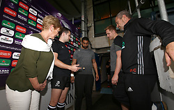 GJ van Velze of Worcester Warriors and Said Hireche of Brive take part in the coin toss ahead of their European Challenge Cup Pool Match - Mandatory by-line: Robbie Stephenson/JMP - 14/10/2017 - RUGBY - Sixways Stadium - Worcester, England - Worcester Warriors v Brive - European Challenge Cup