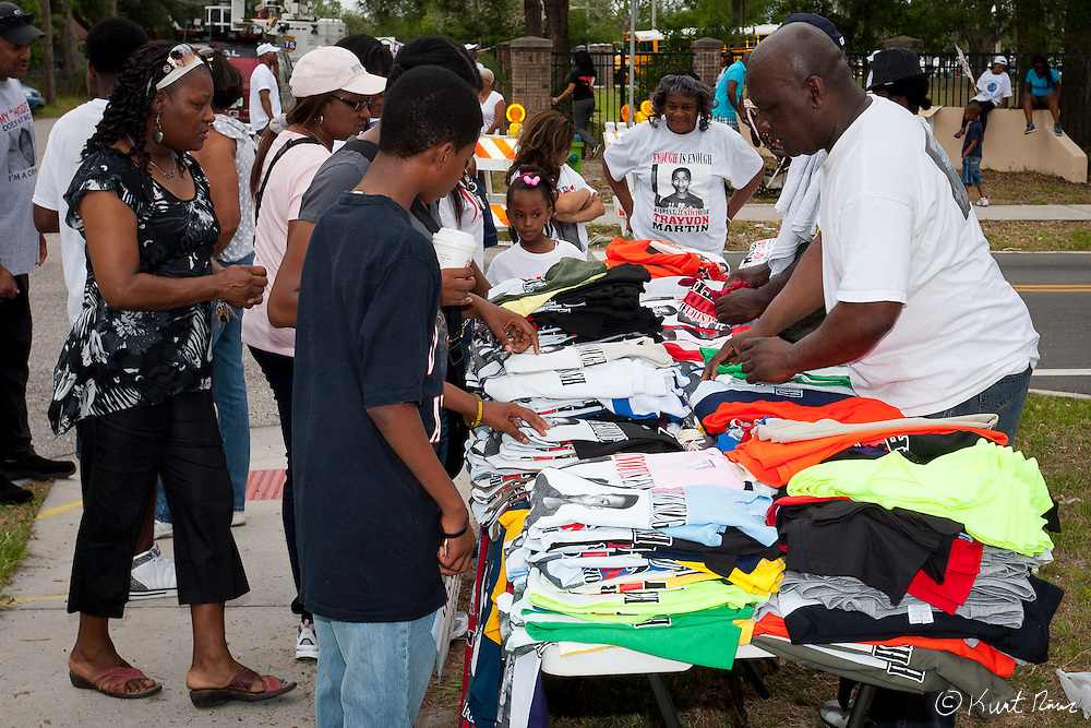 March 31, 2012 - Sanford, Florida, U.S. - A man sells t-shirts in the streets of Sanford, Florida for the justice of Treyvon Martin.