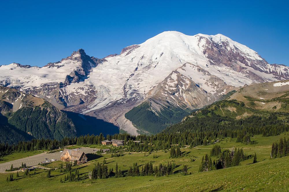 Mount Rainier from Yakima Park in the Sunrise area of Mt. Rainier National Park, Washington.