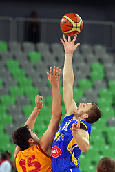 Predrag Samardzinski of Macedonia and Elmedin Kikanovic of BiH at friendly match between Macedonia and BIH for Adecco Cup 2011 as part of exhibition games before European Championship Lithuania on August xx, 2011, in SRC Stozice, Ljubljana, Slovenia. (Photo by Urban Urbanc / Sportida)
