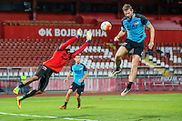 NOVI SAD - 17-08-2016, Vojvodina - AZ, Karadjordje Stadion, training, persconferentie, AZ speler Gino Coutinho, AZ speler Robert Muhren