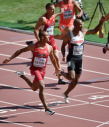 28-08-2015 CHN: IAAF World Championships Athletics day 7, Beijing<br /> 100 m decathlon, Trey Hardee USA, Damian Warner CAN, Ashton Eaton USA<br /> Photo by Ronald Hoogendoorn / Sportida