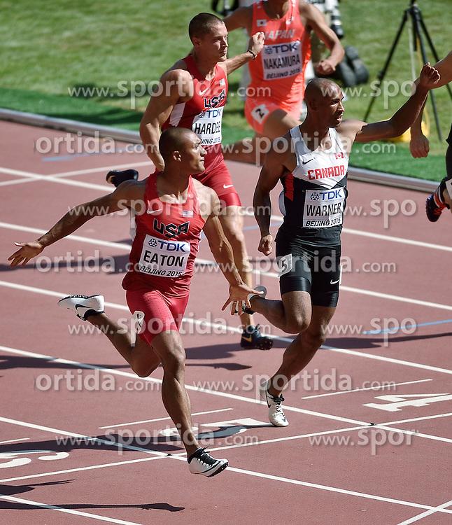 28-08-2015 CHN: IAAF World Championships Athletics day 7, Beijing<br /> 100 m decathlon, Trey Hardee USA, Damian Warner CAN, Ashton Eaton USA<br /> Photo by Ronald Hoogendoorn / Sportida