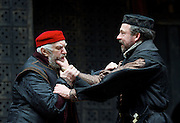The Merchant of Venice <br /> by William Shakespeare <br /> at The Globe Theatre, London, Great Britain <br /> 25th April 2015 <br /> <br /> Jonathan Pryce as Shylock <br /> Dominic Mafham as Antonio <br /> <br /> <br /> Photograph by Elliott Franks <br /> Image licensed to Elliott Franks Photography Services