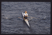 London. United Kingdom.  Karen WARWICK 1990 Scullers Head of the River Race. River Thames, viewpoint Chiswick Bridge Saturday 07.04.1990<br /> <br /> [Mandatory Credit; Peter SPURRIER/Intersport Images] 19900407 Scullers Head, London Engl