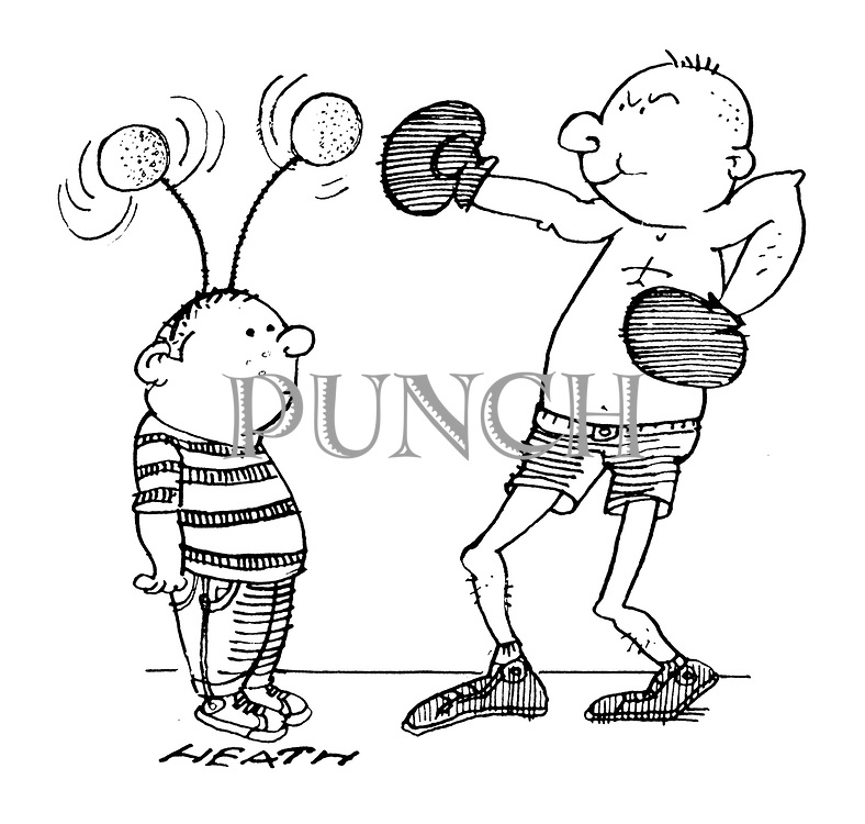 (A boxer practices his punches on the deely boppers a small boy is wearing)
