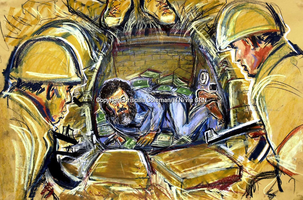 ©PRISCILLA COLEMAN ITV NEWS.SUPPLIED BY©PHOTONEWS SERVICELTD 15.12.03.DRAWING SHOWS THE CAPTURE OF SADDAM HUSSEIN AT A FARMHOUSE NEAR TO HIS HOME TOWN OF TIKRIT. MR.HUSSEIN WAS FOUND IN A SPY HOLE WITH 3 GUNS AND $750,000 ..SEE STORY