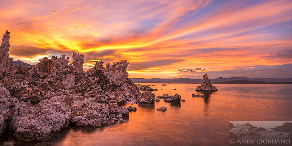 Summer sunsets at Mono Lake can be mind-blowing. With the monsoons the drive-up access and the well known nature of the lake comes combat photography conditions. On nights like this, visitors swarm through the Tufa, taking it all in. In general they respect the fragile nature of the landscape, treading carefully as they explore this foreign scene, taken by the foreignness of it all. The Tufa make for interesting subjects, all the more so in the contradiction. As we seek to photograph something so wild and indicative of geologic history, we should also bear in mind that these features were under water not so many years ago, before the inflows to Mono Lake became diverted for the growing water needs of Los Angeles.