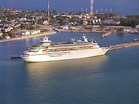 Aerial of the Cruise ship docked at Key West , Florida
