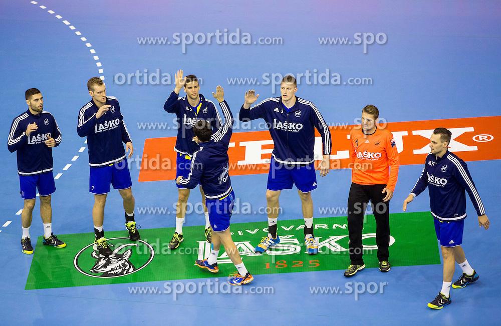 Players of Celje PL during handball match between RK Celje Pivovarna Lasko and RK Zagreb in Round #2 of Group Phase of EHF Champions League 2015/16, on September 26, 2015 in Arena Zlatorog, Celje, Slovenia. Photo by Vid Ponikvar / Sportida