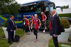 LILLE, FRANCE - Wednesday, June 15, 2016: Wales' Aaron Ramsey arrives at the team hotel, the Novotel Lens Noyelles, ahead of their Group Stage MD 2 game of the UEFA Euro 2016 Championship against England. (Pic by David Rawcliffe/Propaganda)