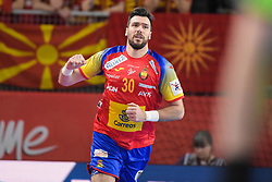 Guardiola Gedeon of Spain celebrates during handball match between National teams of Macedonia and Spain on Day 4 in Main Round of Men's EHF EURO 2018, on January 21, 2018 in Arena Varazdin, Varazdin, Croatia. Photo by Mario Horvat / Sportida