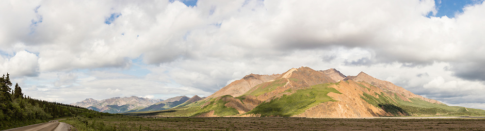 Composite panorama of Toklat River Valley and Polychrome Mountain in Denali National Park in Interior Alaska. Summer. Afternoon.