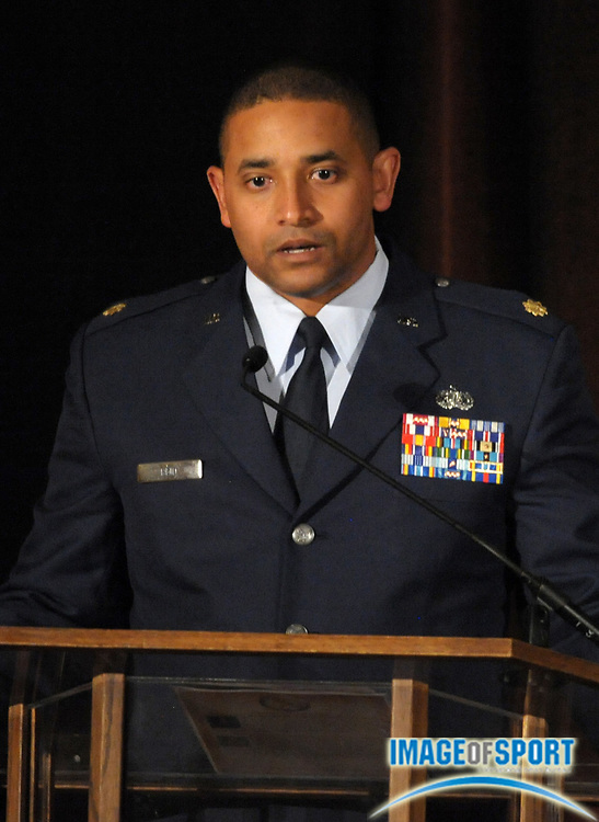 Mar 30, 2012; Austin, TX, USA; Air Force major Jerime Reid at the 6th annual Minority Mentorship Symposium at the AT&T Executive Education and Conference Center.