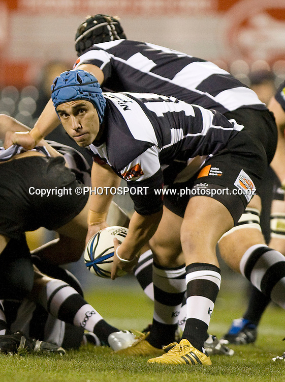 Hawkes Bay's Daniel Kirkpatrick passes the ball back from a ruck. ITM Cup. Canterbury v Wellington at AMI Stadium, Christchurch. Friday 30 July 2010. Photo: Joseph Johnson/PHOTOSPORT