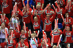 Fans of Norway celebrate during 21st Men's World Handball Championship preliminary Group D match between Norway and Egypt, on January 19, 2009, in Arena Zatika, Porec, Croatia. Win of Norway 30:20.(Photo by Vid Ponikvar / Sportida)
