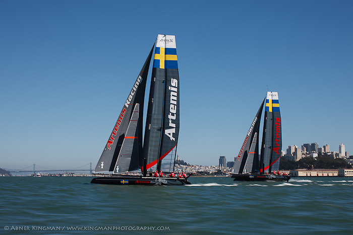 Artemis Racing training in AC45s on San Francisco Bay