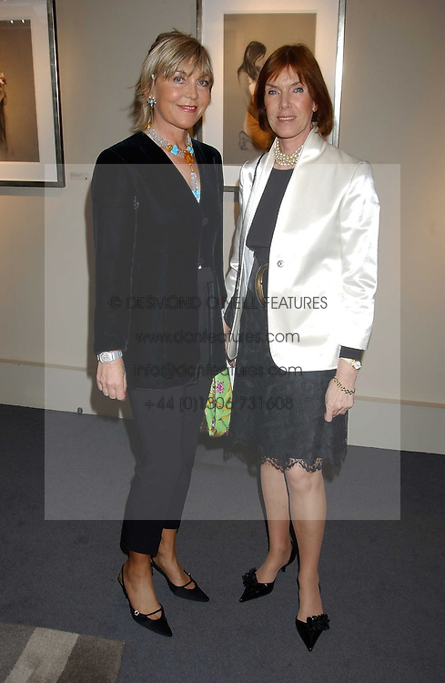Left to right, ROSIE, MARCHIONESS OF NORTHAMPTON and LADY STEWART at a private view of fashion designer Lindka Cierach's Couture Dresses drawn by Trudy Good held at the Belgravia Gallery, 45 Albemarle Street, London on 21st September 2005.<br />