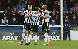 Ian Henderson of Rochdale (centre) celebrates scoring his goal with team-mates Mark Kitching and Calvin Andrew - Mandatory by-line: Joe Dent/JMP - 14/04/2018 - FOOTBALL - ABAX Stadium - Peterborough, England - Peterborough United v Rochdale - Sky Bet League One