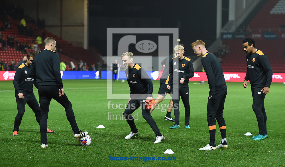The players of Hull City Tigers during warm up for the EFL Cup match at Ashton Gate, Bristol<br /> Picture by Daniel Hambury/Focus Images Ltd +44 7813 022858<br /> 25/10/2016