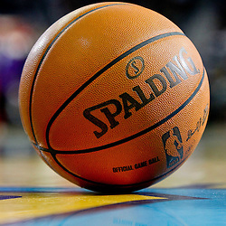 January 29, 2012; New Orleans, LA, USA; A detail of a NBA basketball on the floor during a game between the New Orleans Hornets and the Atlanta Hawks at the New Orleans Arena. The Hawks defeated the Hornets 94-72.  Mandatory Credit: Derick E. Hingle-US PRESSWIRE