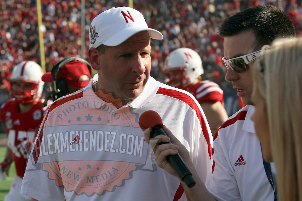 Nebraska Cornhuskers head coach Bo Pelini talks to the media before the third quarter, during the NCAA Capital One Bowl football game between the Georgia Bulldogs and the Nebraska Cornhuskers, at the Florida Citrus Bowl on Tuesday, January 1, 2013 in Orlando, Florida. (AP Photo/Alex Menendez)