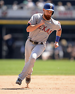 CHICAGO - JULY 01:  Jonathan Lucroy #25 of the Texas Rangers runs the bases against the Chicago White Sox on July 1, 2017 at Guaranteed Rate Field in Chicago, Illinois.  The Rangers defeated the White Sox 10-4.  (Photo by Ron Vesely) Subject:   Jonathan Lucroy