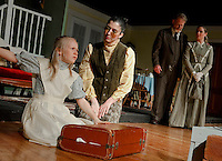 Helen (Sophia Joyal) and Annie (Nerrissa Bodwell) get acquainted as Captain Keller (Eric Marsh) and Kate Keller (Heidi Erhard) look on during Laconia Streetcar Company's dress rehearsal for The Miracle Worker on Wednesday evening.   (Karen Bobotas/for the Laconia Daily Sun)