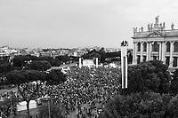 ROME, ITALY - 23 MAY 2014:  Comizio di chiusura del Movimento 5 Stelle a Piazza San Giovanni per le elezioni europee a Roma il 23 maggio 2014.