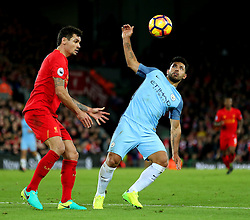 Sergio Aguero of Manchester City and Dejan Lovren of Liverpool - Mandatory by-line: Matt McNulty/JMP - 31/12/2016 - FOOTBALL - Anfield - Liverpool, England - Liverpool v Manchester City - Premier League
