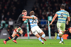 November 11, 2017 - London, United Kingdom - England's Sam Underhill makes his tackle on Argentina's Sebastian Cancellere  during Old Mutual Wealth Series between England against Argentina at Twickenham stadium , London on 11 Nov 2017  (Credit Image: © Kieran Galvin/NurPhoto via ZUMA Press)