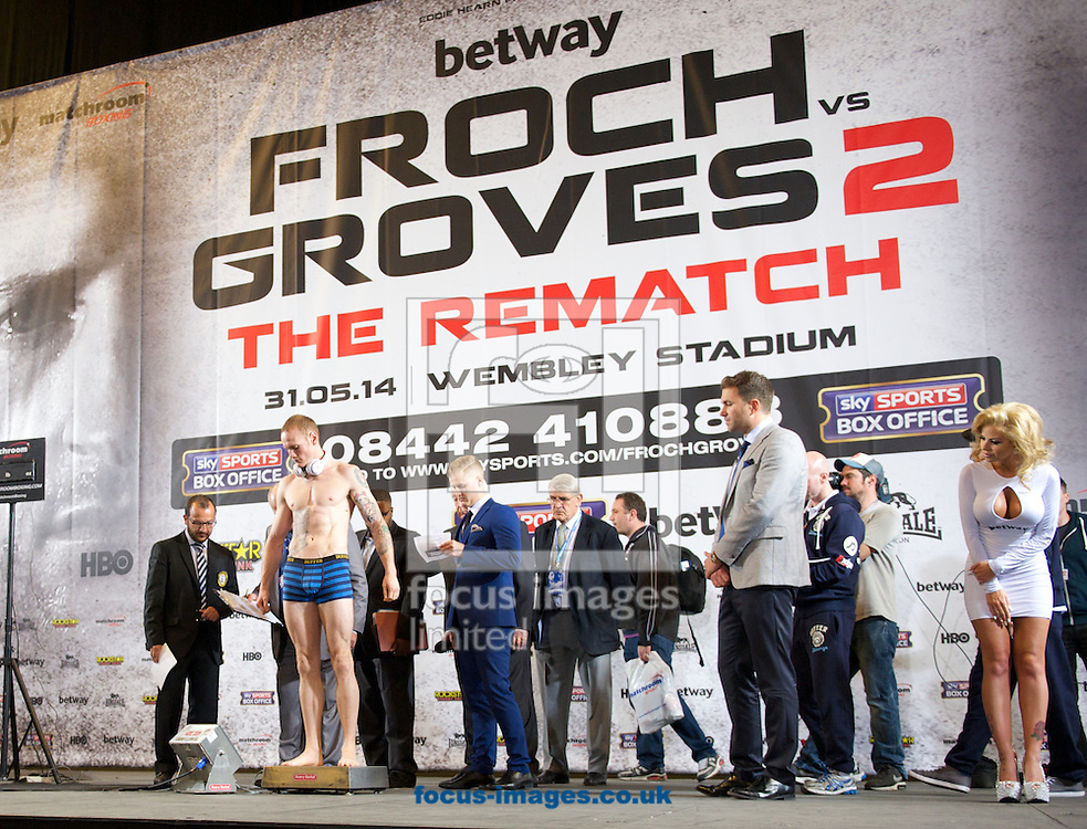 Pictures showing George Groves  during the Froch v Groves Weigh In at Wembley Arena, London<br /> Picture by Alan Stanford/Focus Images Ltd +44 7915 056117<br /> 30/05/2014