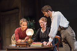 © Licensed to London News Pictures. 24/09/2013. The Rose Theatre Kingston and English Touring Theatre present Ghosts by Henrik Ibsen. Directed by Stephen Unwin. Featuring Pip Donaghy, Patrick Drury, Florence Hall, Kelly Hunter & Mark Quartley. Picture: Florence Hall, Kelly Hunter. & Mark Quartley. Photo credit: Tony Nandi/LNP