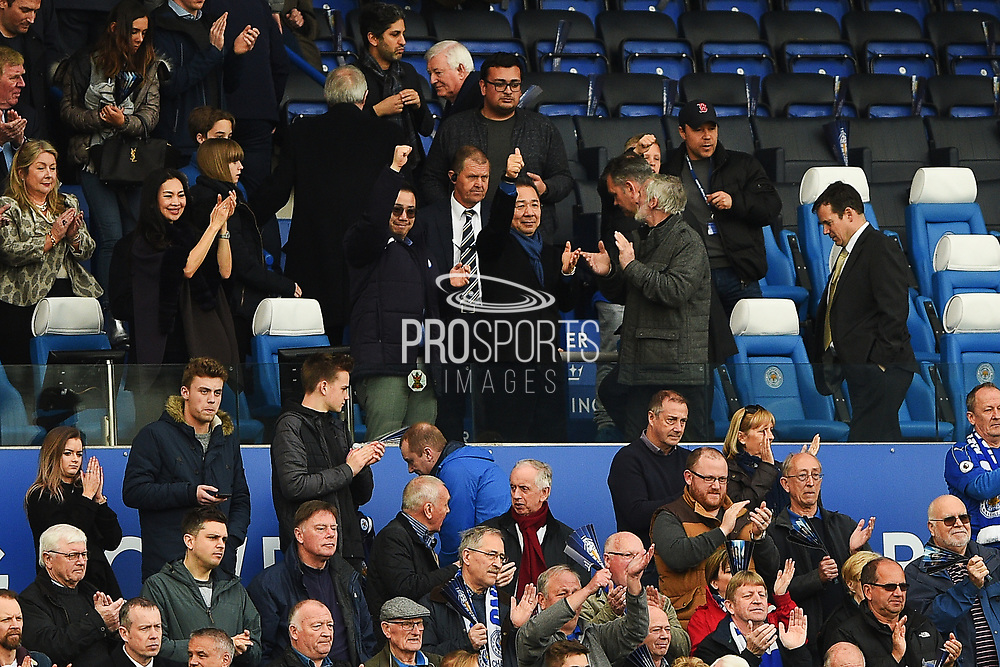 Leicester City Owner and Chairman Vichai Srivaddhanaprabha gives the thumbs up during the Premier League match between Leicester City and Stoke City at the King Power Stadium, Leicester, England on 1 April 2017. Photo by Jon Hobley.