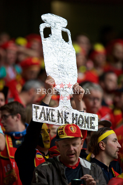 LILLE, FRANCE - Friday, July 1, 2016: Belgium supporter with a tin foil trophy during the UEFA Euro 2016 Championship Quarter-Final match against Wales at the Stade Pierre Mauroy. (Pic by David Rawcliffe/Propaganda)