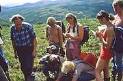 Professor og botaniker Olav Gjærevoll (født 1919) på ekskusjon med studenter på Kongvoll på Dovrefjell. Han ble ansatt som konservator ved Vitenskapsmuseet i Trondheim 1947–1979. I tillegg hadde han en professorstilling ved Norges lærerhøgskole 1958–1986. Som botaniker arbeidet han mest med planter til fjells, og i arktiske strøk. Foruten de mer faglige publikasjonene, skrev han også populærvitenskapelige bøker, og drev opplysningsarbeid om botanikk. Hans Fjellflora (skrevet sammen med Reidar Jørgensen, illustrert av Dagny Tande Lid) har fast plass i lomma hos mange fjellvandrere. <br /> Ordfører i Trondheim 1958–1963 og 1980–1981. Han var sosialminister under Einar Gerhardsen 1963–1965, med et kort avbrudd mens John Lyng var statsminister. I perioden 1965–1969 møtte Gjærevoll på Stortinget som fast representant for Sør-Trøndelag. Han satt i denne perioden i Finans- og tollkomiteen (fra 1967 Finanskomiteen), og var også vararepresentant i Den utvidede utenriks- og konstitusjonskomiteen. I Trygve Brattelis regjering var han lønns- og prisminister 1971–1972, hvoretter Gjærevoll ble utnevnt til landets (og verdens) første miljøvernminister. Han hadde denne posten i fem måneder, til regjeringen Bratteli gikk av i oktober 1972 som følge av folkeavstemningen om EF.