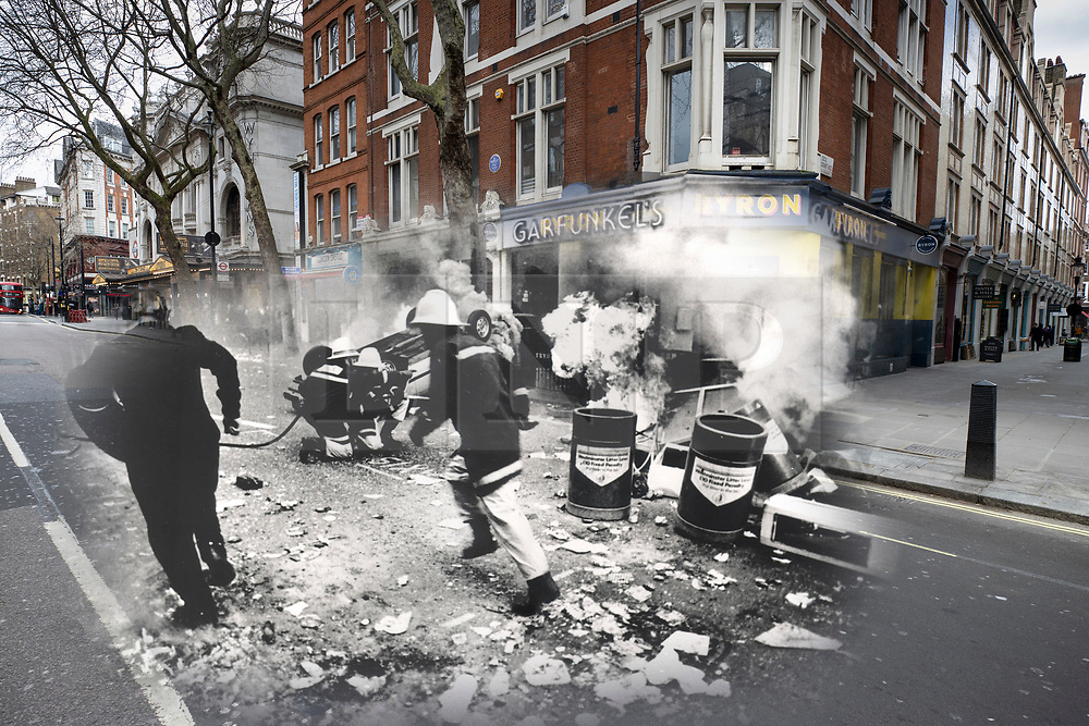 © Licensed to London News Pictures. 25/03/2020. London, UK. In this combined image a police officer and a fire fighter run past burning cars on Charing Cross Road during the London poll tax riots on March 31st 1990 overlaid on the same location today. The protest on the last day of March in 1990 started peacefully when thousands gathered in a south London park to demonstrate against Margaret Thatcher's Government's introduction of the Community Charge - commonly known as the poll tax. Marchers walked to Whitehall and Trafalgar Square where violence broke out with the trouble spreading up through Charring Cross Road and on to the West End. Police estimated that 200,000 people had joined the protest and 339 were arrested. The hated tax was eventually replaced by the Council Tax under John Major's government in 1992.  Photo credit: Peter Macdiarmid/LNP