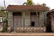 Wooden house in Bahia Honda, Artemisa, Cuba.