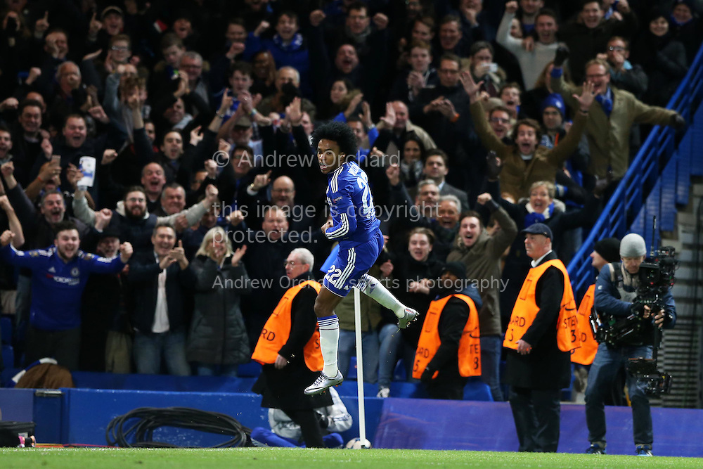 Willian of Chelsea celebrates as he scores his sides 2nd goal of the game. UEFA Champions league group G match, Chelsea v Porto at Stamford Bridge in London on Wednesday 9th December 2015.<br /> pic by John Patrick Fletcher, Andrew Orchard sports photography.