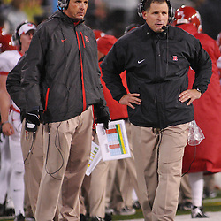 Oct 23, 2009; West Point, N.Y., USA; Rutgers head coach Greg Schiano watches the from the sidelines during Rutgers' 27 - 10 victory over Army at Michie Stadium.