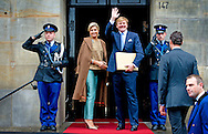 AMSTERDAM - King willem alexander and queen maxima Arrives at the palace for the new year reception. COPYRIGHT ROBIN UTRECHT