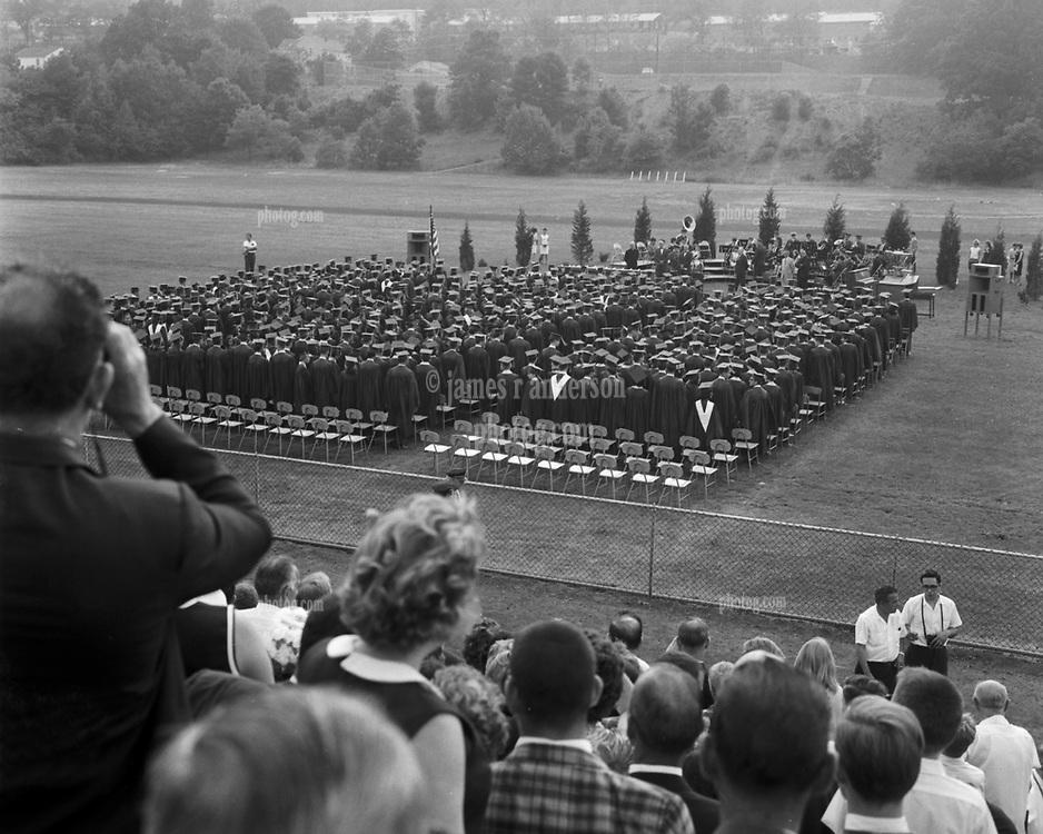 Hamden High School Graduation 1965. View from the old bleachers looking west across playing field.