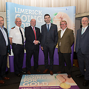 10.10. 2017.          <br /> Pictured at the Limerick Going for Gold 2017 finals in the Strand Hotel were, Joe Nash, Live95FM, Chief Supt. David Sheahan, Pat Daly, Limerick City and County Council, Joe Cleary, Mr. Binman, Dave O'Hora, Southern Marketing Media & Design and Roger Beck, Parkway Shopping Centre.<br /> <br /> <br /> Limerick Going for Gold, which is sponsored by the JP McManus Charitable Foundation, has a total prize pool of over €75,000.  It is organised by Limerick City and County Council and supported by Limerick's Live 95FM, The Limerick Leader and The Limerick Chronicle, The Limerick Post, Parkway Shopping Centre, I Love Limerick and Southern Marketing Media & Design. Picture: Alan Place