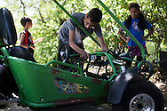 Ahmed Mohamed works on his go-cart in Irving, Texas on July 12, 2016. (Cooper Neill for The Washington Post)