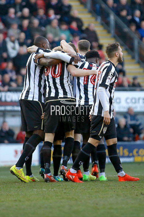 Notts County players celebrate a goal from Notts County forward Jonathan Stead (30) (score 0-2) during the EFL Sky Bet League 2 match between Leyton Orient and Notts County at the Matchroom Stadium, London, England on 18 February 2017. Photo by Andy Walter.