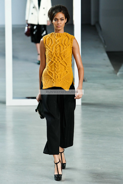 Joan Smalls walks down runway for F2012 Derek Lam's collection in Mercedes Benz fashion week in New York on Feb 10, 2012 NYC