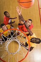 Basketball match view from above rim